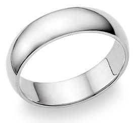 6mm plain white gold wedding band ring