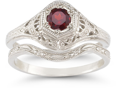 antique style ruby bridal set wedding ring