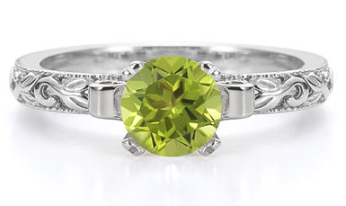 art deco peridot ring white gold
