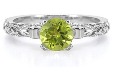 art deco peridot ring white gold