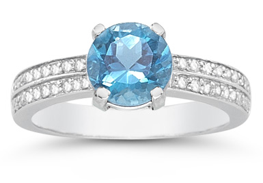 blue topaz diamond ring white gold