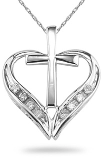 cross heart diamond pendant necklace