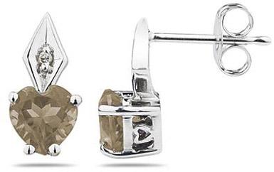 heart shaped smoky quartz diamond earrings