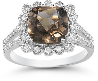 smoky quartz diamond ring white gold cushion cut
