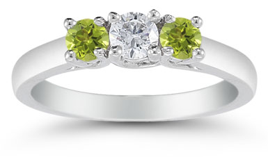 three stone diamond and peridot ring