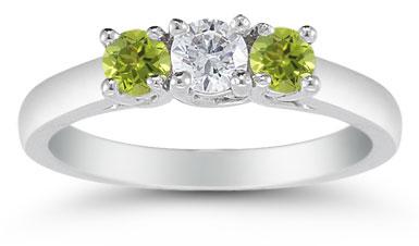 three stone diamond and peridot ring