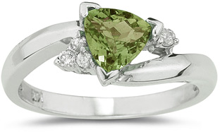 trillion cut peridot diamond ring