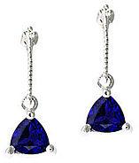 trillion cut sapphire earrings white gold