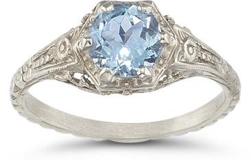 aquamarine vintage floral ring sterling silver