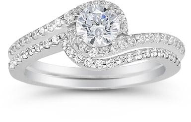 white topaz swirl engagement ring set