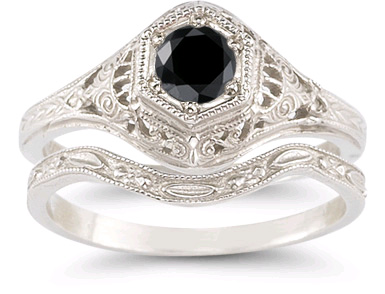 antique style black diamond engagement bridal ring set