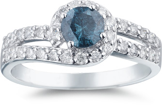 blue and white diamond engagement ring