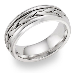 braided wedding band ring white gold
