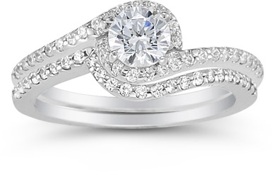 diamond swirl engagement ring set