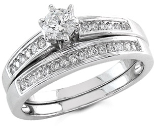 half carat diamond bridal ring set