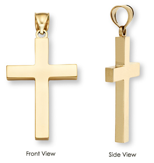 mens solid gold cross pendant necklace