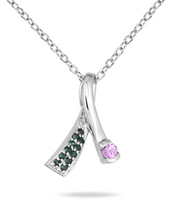 pink sapphire ribbon pendant necklace