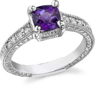 amethyst diamond engagement gemstone ring