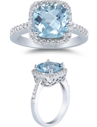 aquamarine and diamond ring white gold