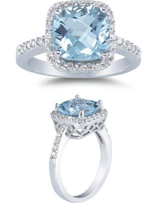 aquamarine and diamond ring white gold