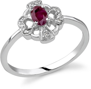 cross heart ruby diamond ring