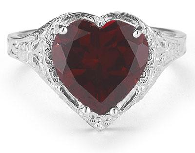 garnet heart ring vintage filigree white gold
