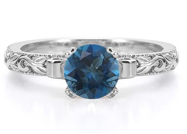 london blue topaz art deco gemstone ring
