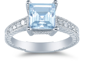 princess cut aquamarine diamond engagement ring