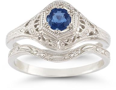 sapphire bridal wedding ring set silver