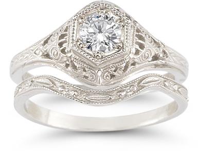 white topaz bridal ring set silver
