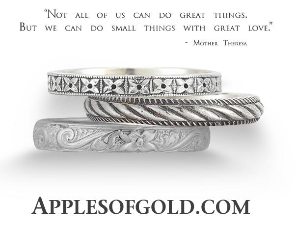 Petite White Gold Wedding Bands with Big Vintage Style