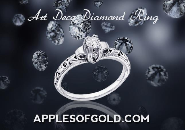 Art Deco Diamond Ring in 14K white gold