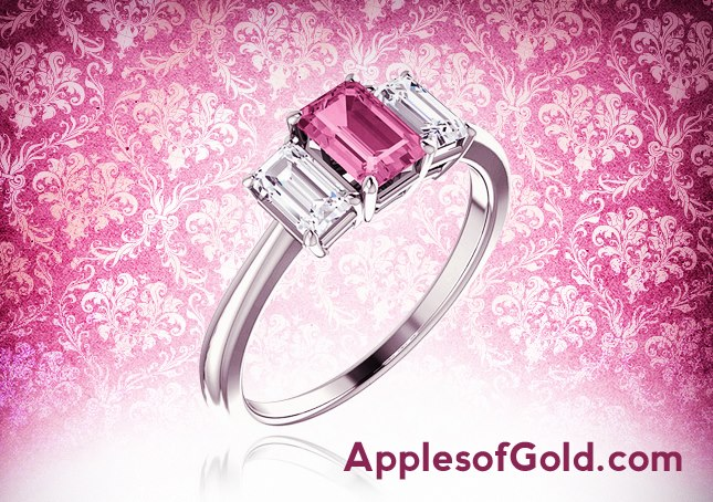 03-09-2013 pink sapphire and diamond ring--emerald cut