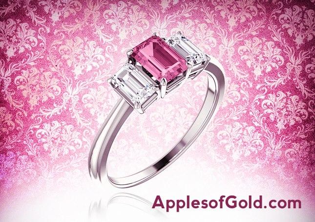 03-09-2013 pink sapphire and diamond ring--emerald cut
