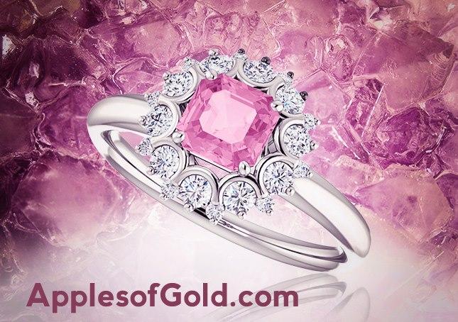 03-21-2013 Pink Sapphire Asscher-Cut & Diamond Ring