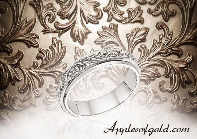 03-23-2013 Floral Vineyard Band in 14K White Gold