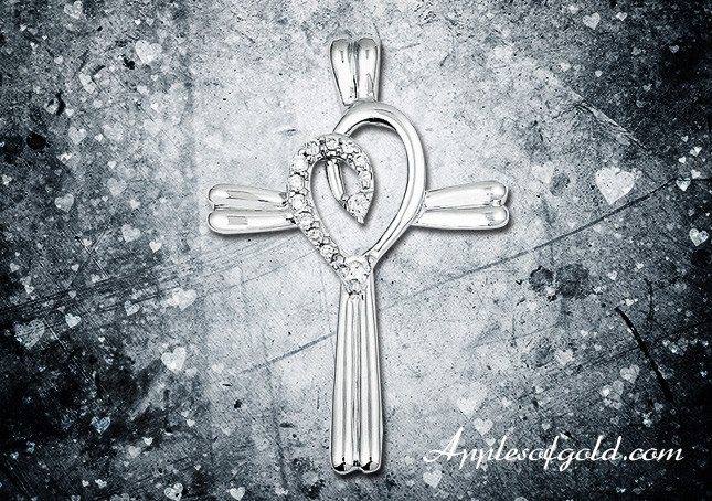 04-17-2013 Diamond Heart Swirl Cross Necklace in 14K White Gold