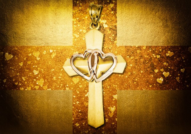 04-23-2013 Two Hearts Cross in 14K Rose and Yellow Gold