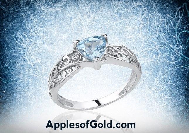 05-08-2013 Trillion-Cut Gemstone Ring in 14K White Gold