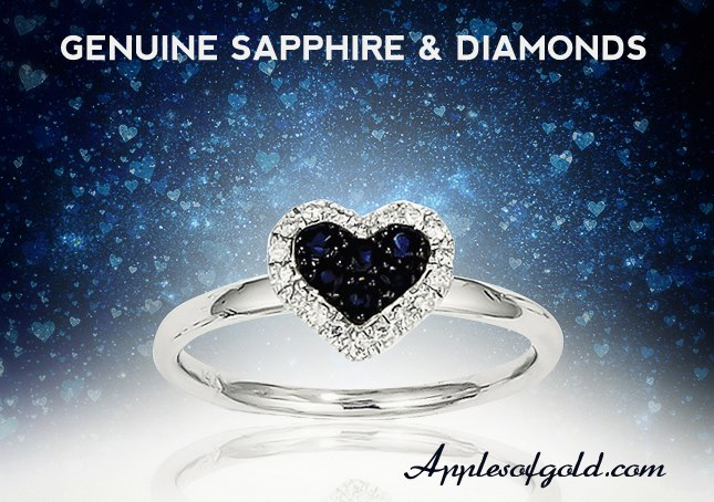 05-14-2013 Genuine sapphire & diamond heart ring in 14k white gold