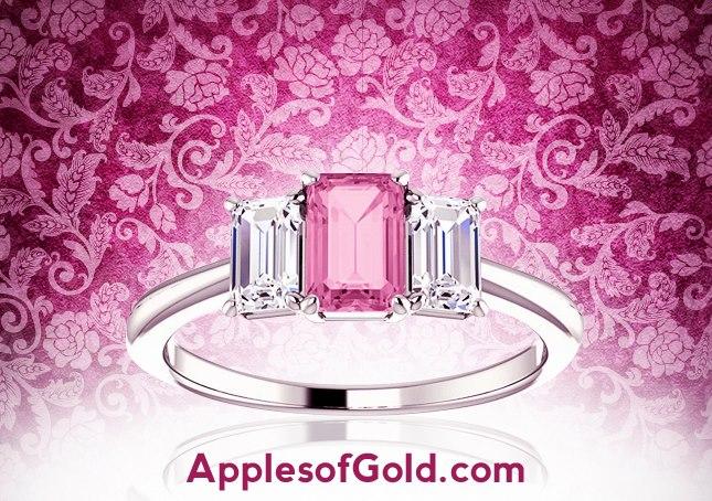 05-18-2013 Pink-Sapphire & Diamond Three Stone Emerald-Cut Ring