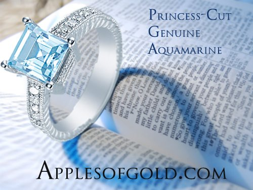 05-21-2013 Princess-Cut Aquamarine & Diamond Ring