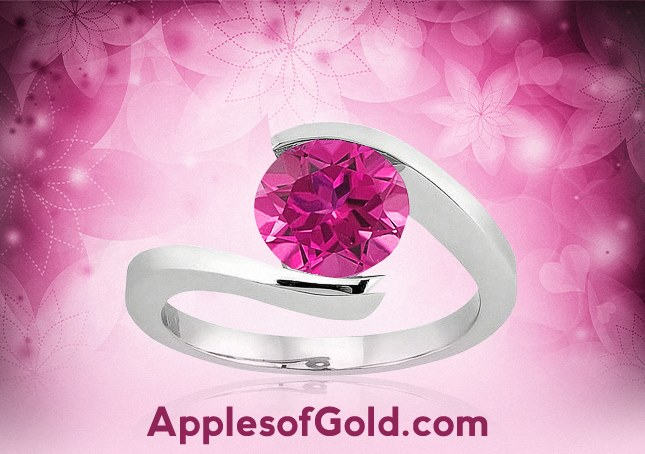 05-23-2013 Tension-Set Pink Topaz Ring in 14K White Gold