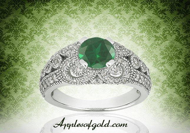 05-24-2013 Genuine Emerald & Diamond Vintage Ring in 14K White Gold