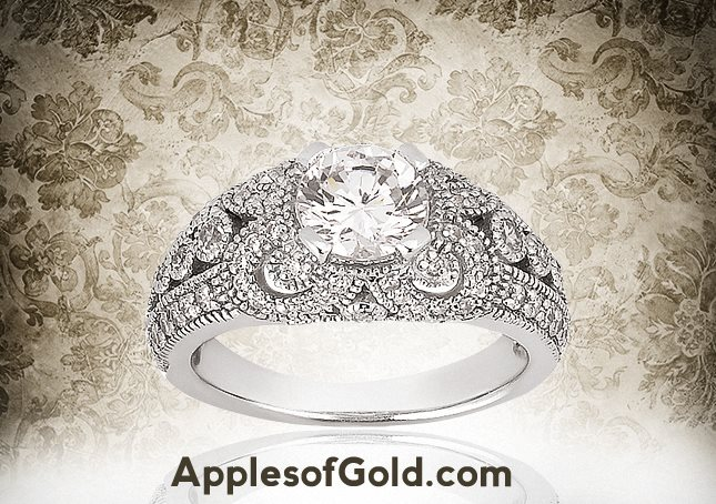 06-07-2013 Antique-Style Diamond Ring in 14K White Gold