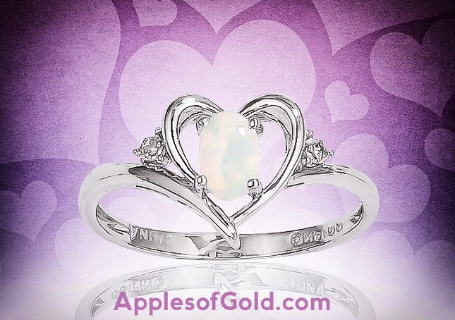 06-18-2013 Genuine Opal Heart Ring in 14K White Gold