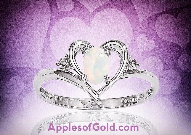 06-18-2013 Genuine Opal Heart Ring in 14K White Gold