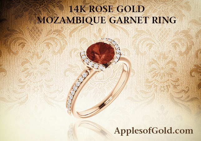 07-18-2013 Rose Gold Mozambique Garnet & Diamond Ring