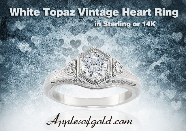 07-22-2013 White Topaz Vintage Heart Ring