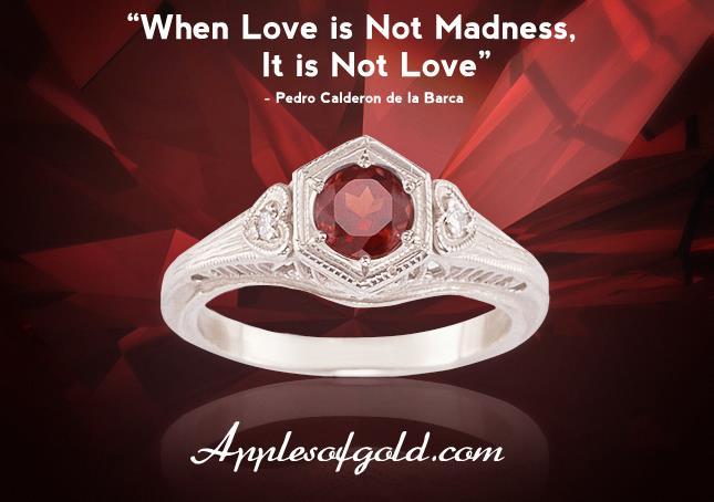 vintage heart garnet ring
